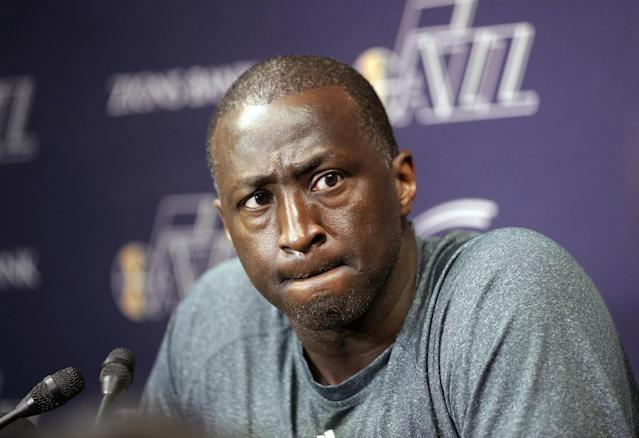 FILE - In this April 17, 2014, file photo, Utah Jazz coach Tyrone Corbin speaks to reporters on the day the Jazz cleaned out their lockers after a 25-57 season in Salt Lake City. The Jazz announced Monday, April 21, 2014, that the team won't be offering Corbin a new contract. (AP Photo/Rick Bowmer, File)