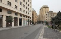 A view shows an empty street near the government palace in downtown Beirut