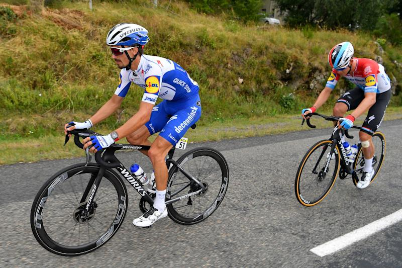 SAINT CHRISTO EN JAREZ FRANCE AUGUST 12 Julian Alaphilippe of France and Team Deceuninck QuickStep Bob Jungels of Luxembourg and Team Deceuninck QuickStep during the 72nd Criterium du Dauphine 2020 Stage 1 a 2185km stage from Clermont Ferrand to Saint Christo en Jarez 752m dauphine Dauphin on August 12 2020 in Saint Christo en Jarez France Photo by Justin SetterfieldGetty Images