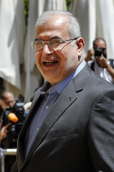 "In this May 23, 2018 photo, Muhammad Hasan Ra'd, the head of the Hezbollah lawmakers bloc, enters parliament for the election of the house speaker in Beirut, Lebanon.  The U.S. Treasury Department is imposing sanctions Lebanon Parliament members Amin Sherri and Muhammad Hasan Ra'd, and Hezbollah official Wafiq Safa, who are suspected of using their positions to further the aims of the Iran-backed military group and ""bolster Iran's malign activities. (AP Photo/Hussein Malla)"