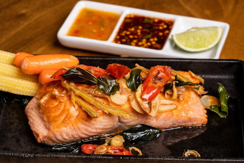 Pan-fried salmon. Photo: Baan Ying
