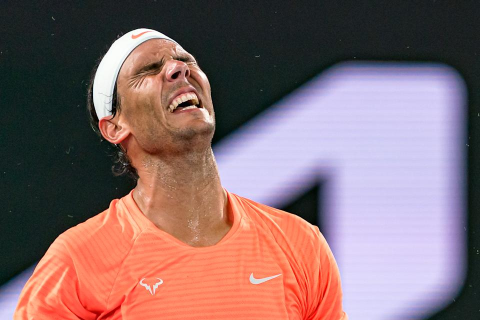 Rafael Nadal looks dejected during his Men's Singles Quarterfinals match against Stefanos Tsitsipas of Greece during day 10 of the 2021 Australian Open.