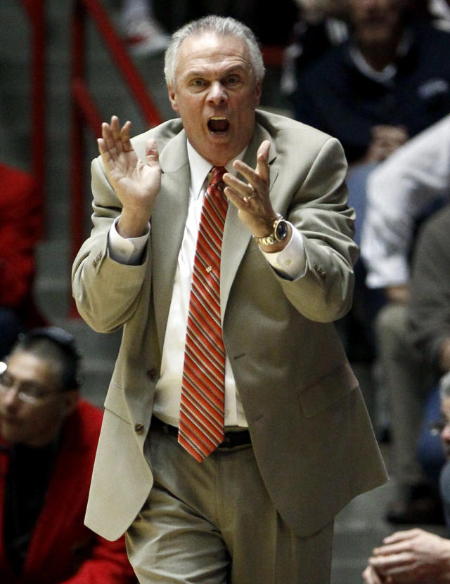 Wisconsin head coach Bo Ryan reacts during the first half of an NCAA tournament second-round college basketball game against Montana, Thursday, March 15, 2012, in Albuquerque, N.M. (AP Photo/Matt York)