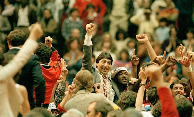 <p>We've all probably seen the clip of NC State's championship winning shot and ensuing celebration a thousand times by now. It's an iconic moment because of the legendary coach Jim Valvano and because of how shocking the win was. This victory denied the Phi Slama Jama Houston team a championship they seemed destined to win behind two future Hall of Famers Hakeem Olajuwon and Clyde Drexler. But the No. 1 ranked Cougars fell victim to that year's true Team of Destiny, which finished the regular season 17-10 and entered the NCAA tournament as a 6 seed. </p>