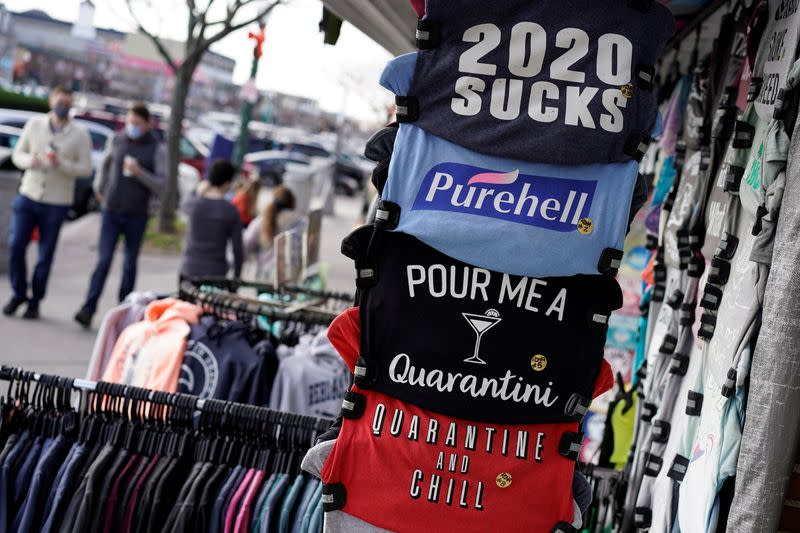 T-shirts with slogans are shown for sale in Rehoboth Beach, Delaware