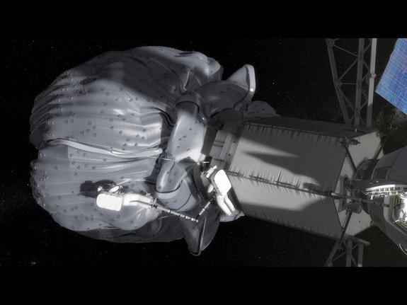 In this conceptual image, the two-person crew uses a translation boom to travel from the Orion spacecraft to the captured asteroid during a spacewalk. Image released Aug. 22, 2013.