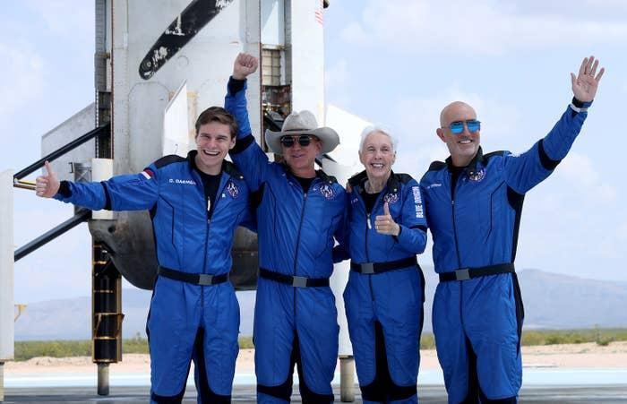 I mean, just today, *sings in Bo Burnham voice* Jeffrey, Jeffrey Bezos did a little space fly-by on his company Blue Origin's NS-16 rocket alongside his brother Mark, pilot and Mercury 13 candidate Wally Funk, and Dutch student Oliver Daemen.
