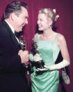 Kelly accepted her 1955 Oscar for 'The Country Girl' wearing a gown originally created for the film's premiere. Cut from a piece of $4,000 French satin, it was designed by American costume designer Edith Head.