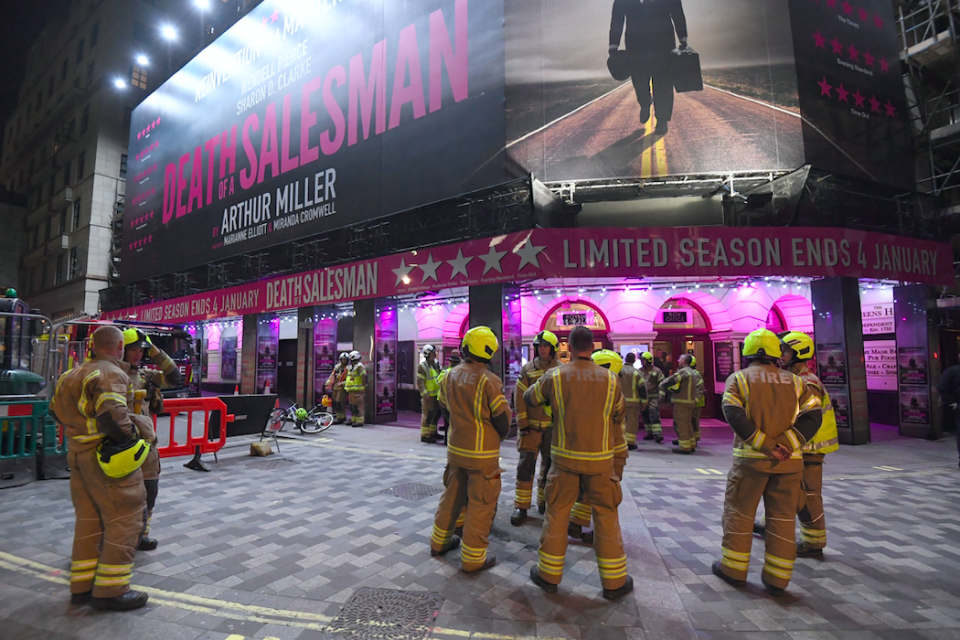 About 1,100 people were evacuated from the theatre building, London Fire Brigade said (PA)