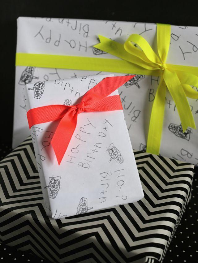 """<p>Surprise grandparents and other family members with custom wrapping paper made by a little one near and dear to them. Though special, no doubt, this DIY costs less than $1 total. </p><p><span>Get the tutorial at </span><a href=""""https://eighteen25.com/custom-gift-wrap-from-kids-artwork/"""" rel=""""nofollow noopener"""" target=""""_blank"""" data-ylk=""""slk:Eighteen25"""" class=""""link rapid-noclick-resp"""">Eighteen25</a><span>.</span></p>"""