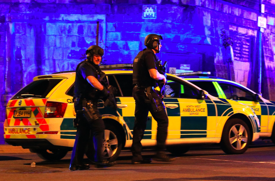 Armed police at Manchester Arena following the attack in 2017. (PA)