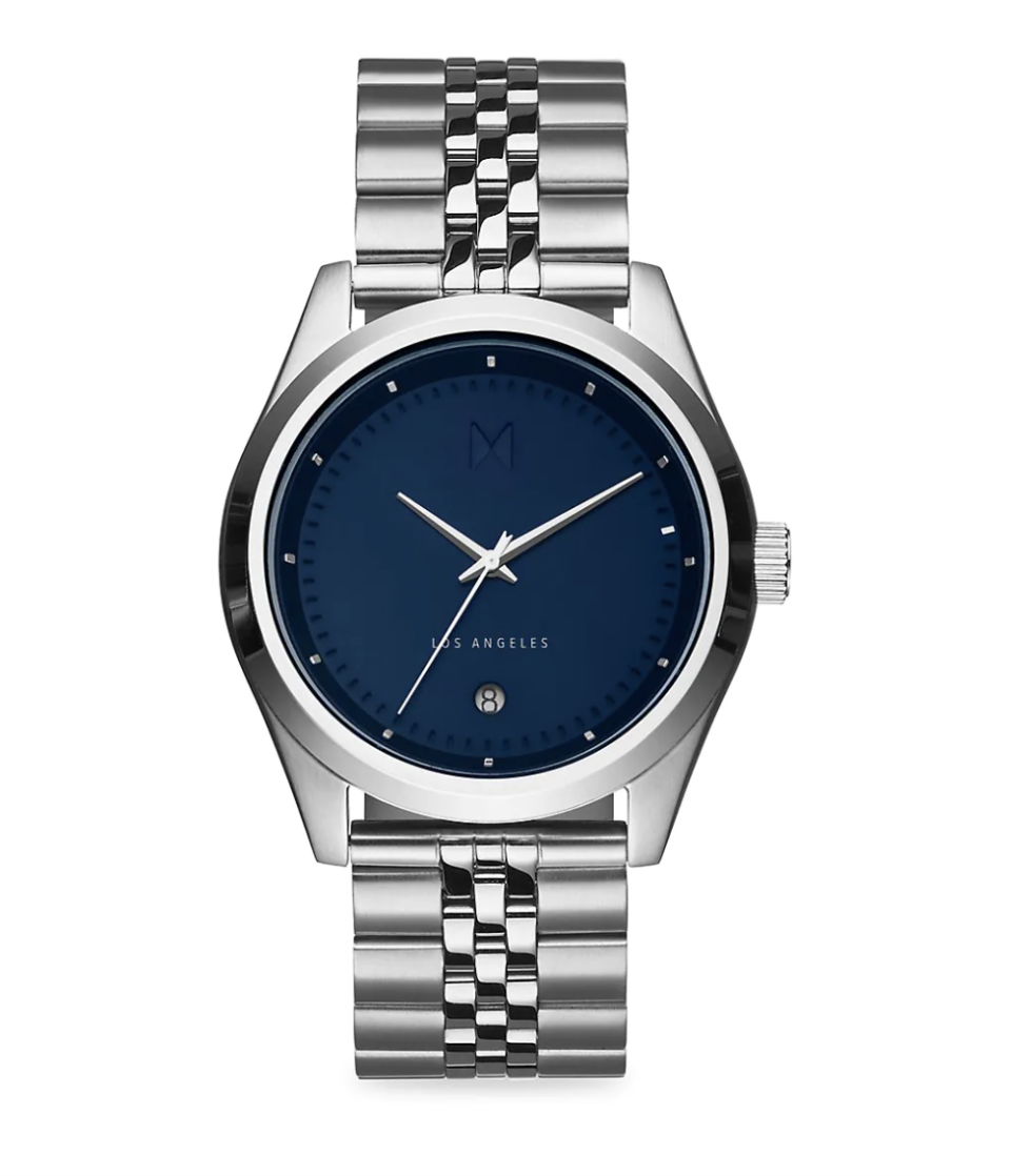 silver men's watch with navy blue watch face