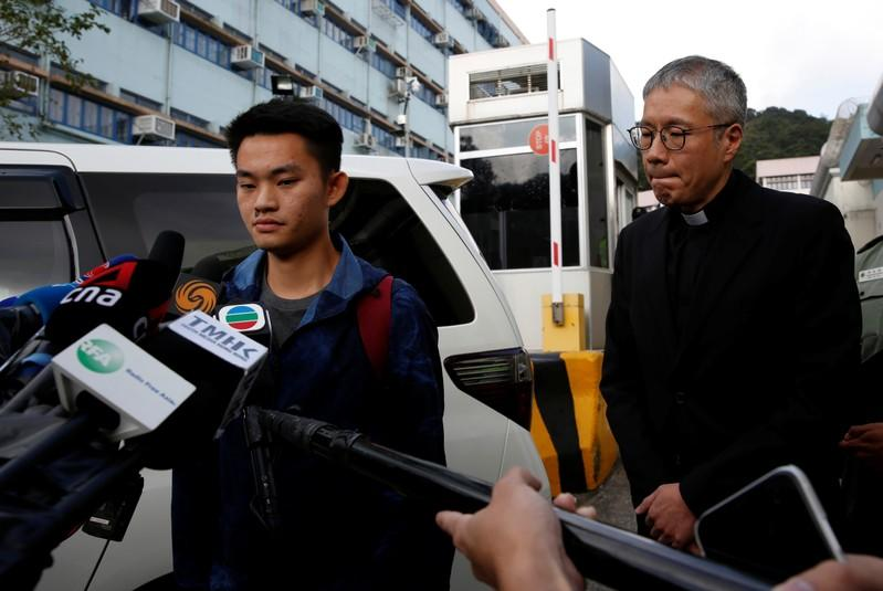 Chan Tong-kai, a Hong Kong citizen who was accused of murdering his girlfriend in Taiwan last year, speaks to journalists as he leaving from Pik Uk Prison, in Hong Kong