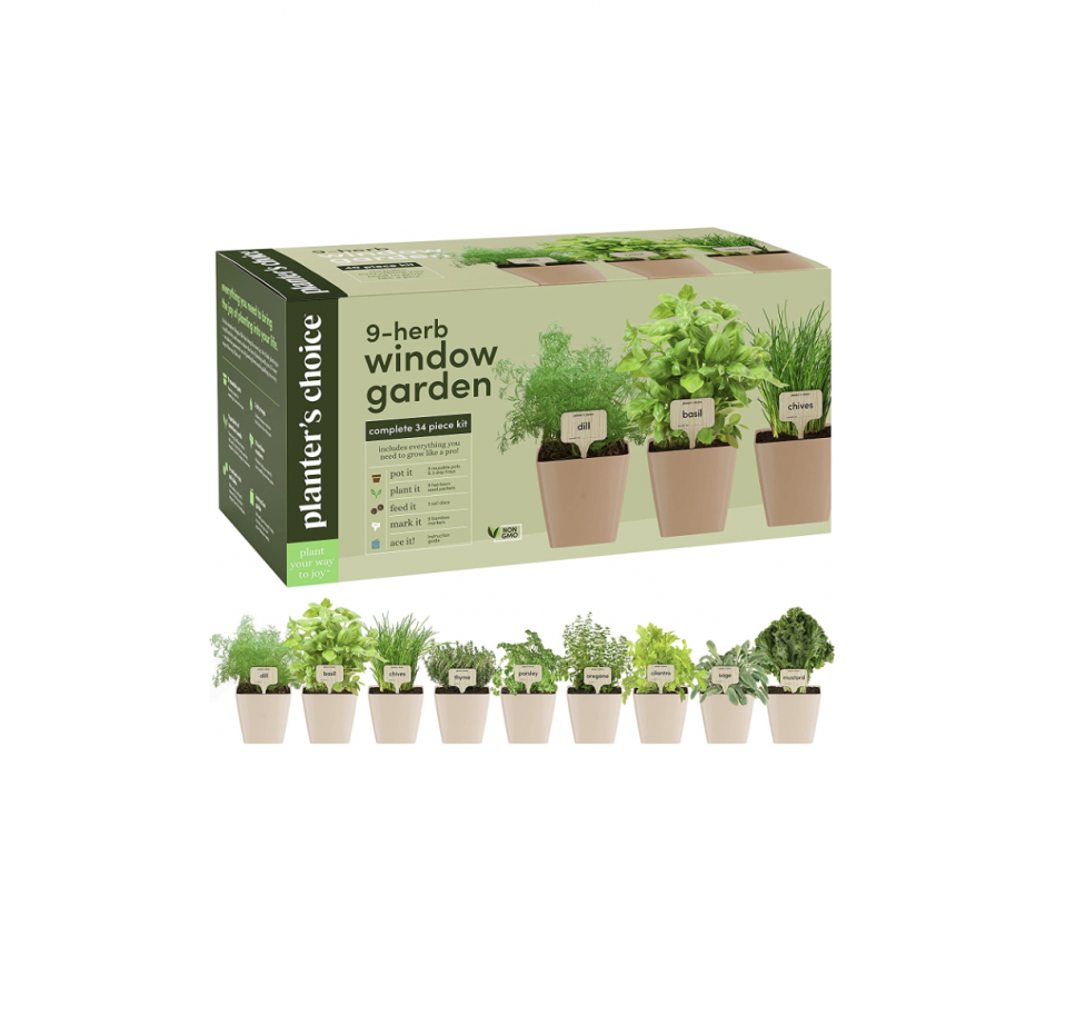"""<p><strong>Planters' Choice</strong></p><p>amazon.com</p><p><strong>$39.99</strong></p><p><a href=""""https://www.amazon.com/dp/B081NXKGFD?tag=syn-yahoo-20&ascsubtag=%5Bartid%7C10057.g.1877%5Bsrc%7Cyahoo-us"""" rel=""""nofollow noopener"""" target=""""_blank"""" data-ylk=""""slk:BUY NOW"""" class=""""link rapid-noclick-resp"""">BUY NOW </a></p><p>If you want to grow a whole host of herbs, this 34-piece kit comes with everything you need to grow nine popular herbs, from cilantro and thyme to basil and oregano. </p>"""