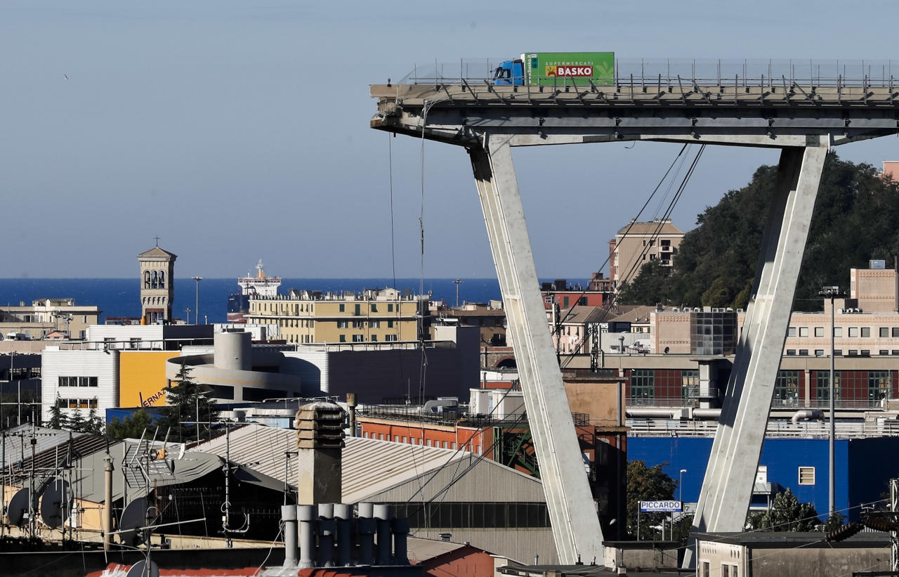 <p>A view of the Morandi highway bridge that collapsed in Genoa, northern Italy, Wednesday, Aug. 15, 2018. (Photo: Antonio Calanni/AP) </p>