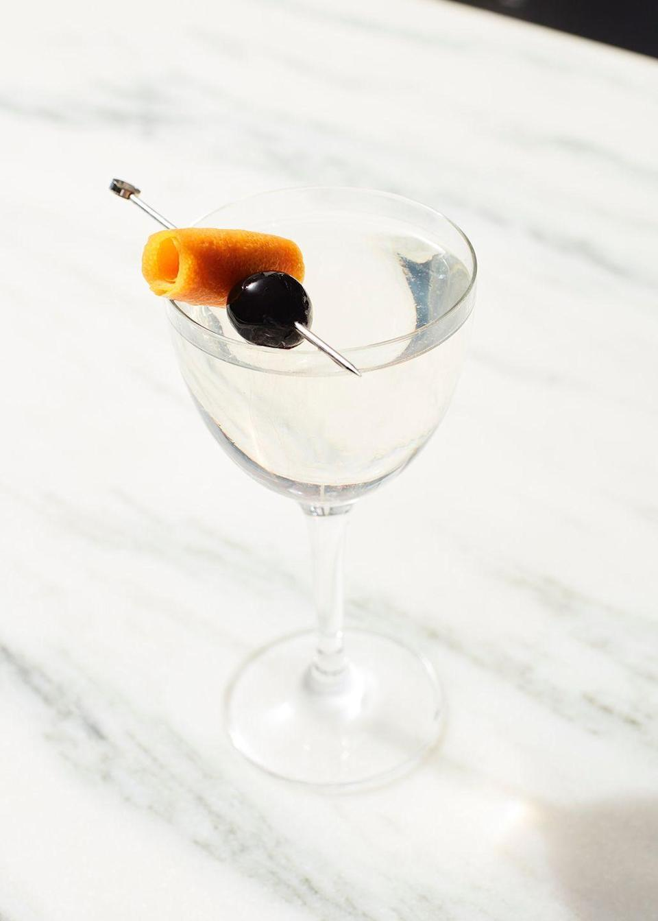 <p><strong>Ingredients</strong></p><p>2.25 oz Plymouth gin<br>.5 oz Dolin Blanc vermouth<br>.25 oz maraschino liqueur<br>2 dashes orange bitters<br>A dash of absinthe <br></p><p><strong>Instructions</strong></p><p>Stir all ingredients with ice and strain into an absinthe rinsed Nick and Nora glass. Garnish with an orange twist expressed and rolled on skewer with a brandied cherry.</p><p><em>From Flora Bar in New York City</em></p>