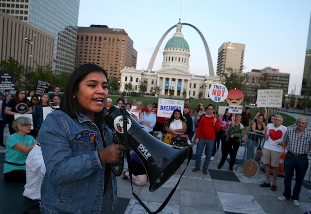 <p>Vivian Garcia Cruz, 18, a self-described DACA student speaks at a rally in St. Louis' Kiener Plaza on Tuesday, Sept. 5, 2017, as supporters of the Deferred Action for Childhood Arrivals gather to voice their opposition to President Trump's decision to end the federal program from the Obama administration. (Photo: Christian Gooden/St. Louis Post-Dispatch via AP) </p>