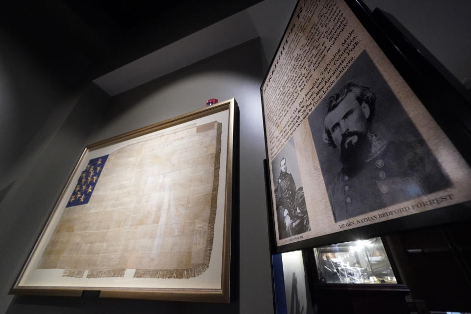 A photograph and information about Confederate Gen. Nathan Bedford Forrest is displayed at the National Confederate Museum, June 6, 2021, in Columbia, Tenn. With the approval of relatives, the remains of Forrest will be moved from Memphis, Tenn., to the museum. (AP Photo/Mark Humphrey)