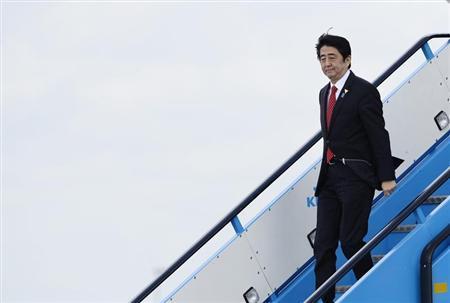 Japan's PM Abe arrives at Amsterdam Schiphol Airport