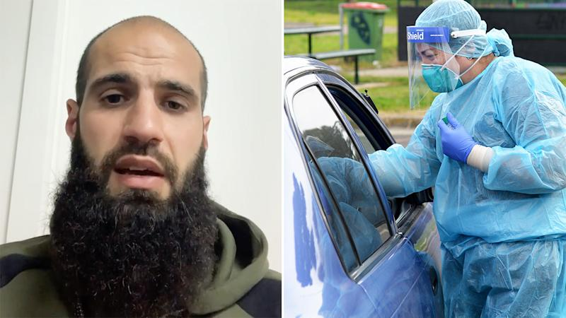 A 50-50 split image shows a screenshot of Bachar Houli from his instagram video on the left, and a drive-though coronavirus test on the right.
