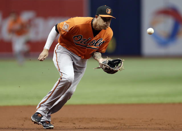 FILE - In this Sept. 30, 2017, file photo, Baltimore Orioles third baseman Manny Machado fields a ground ball by Tampa Bay Rays' Wilson Ramos during the first inning of a baseball game in St. Petersburg, Fla. In what could be his final season with the Orioles, Machado has made a seamless move from third base to shortstop. (AP Photo/Chris O'Meara, File)