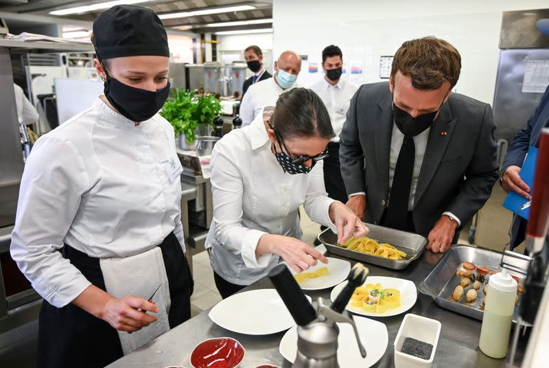 France's President Macron visits Tain-l'Hermitage Hospitality School, in Tain-l'Hermitage