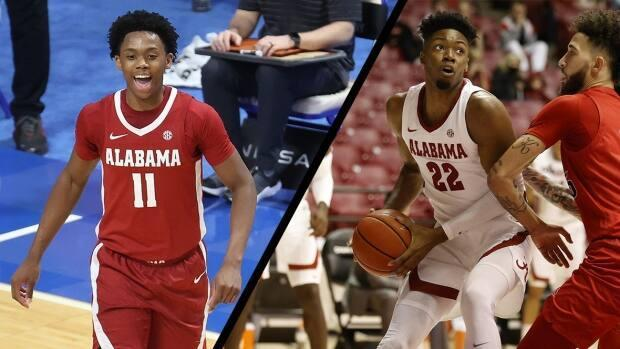 Alabama boasts not one but two Canadians — freshmen Joshua Primo, left, and Keon Amrose-Hylton (22), who are both from Toronto. (Getty Images/Associated Press - image credit)