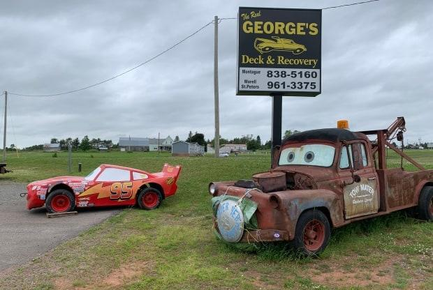 Lightning McQueen and Tow Mater are back out at Pooles Corner after a winter in the barn. (Shane Ross/CBC - image credit)