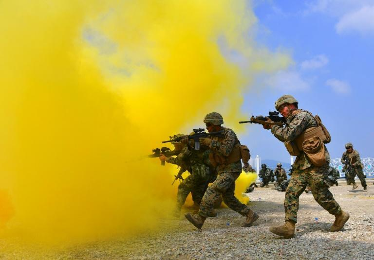 South Korean and US marines take part in an exercise in the western port city of Incheon in September 2016