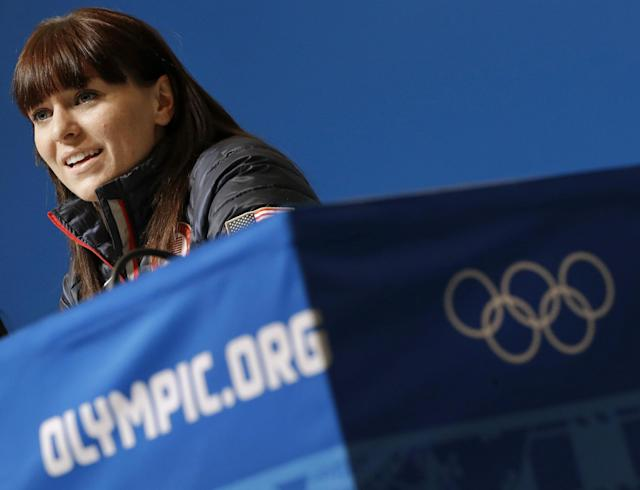 US speedskater Heather Richardson speaks during a 2014 Winter Olympics news conference, Thursday, Feb. 6, 2014, in Sochi, Russia. (AP Photo/Patrick Semansky)