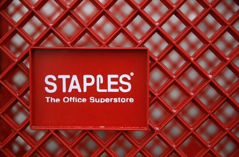 A shopping cart is seen outside a Staples office supplies store in the Chicago suburb of Glenview, Illinois