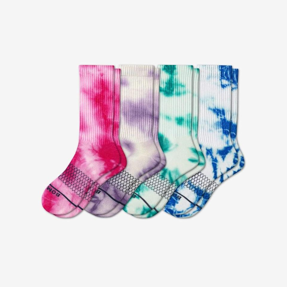 """<p>""""All I want to do is stock up on tie-dye socks, and these <span>Bombas Merino Tie Dye Calf Socks</span> ($68, originally $72) are so cute.""""</p>"""