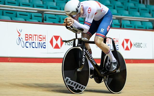 Ed Clancy tests out the new track bike ahead of its competitive debut in Belarus this weekend - COPYRIGHT OF JAMES CHEADLE