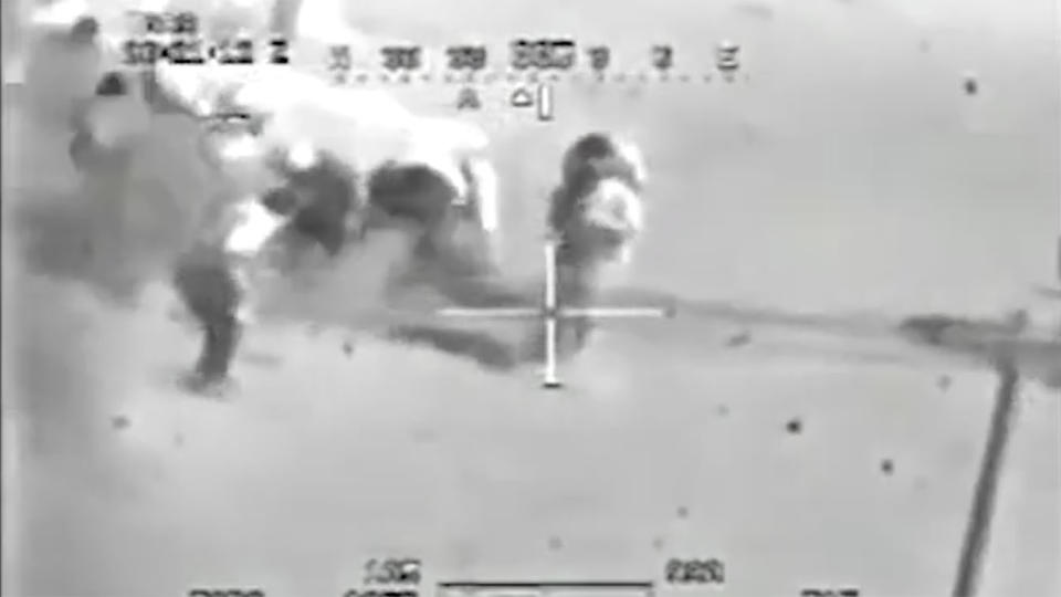 Wikileaks releases leaked 2007 footage of a U.S. Apache helicopter fatally shooting a group of men at public square in Eastern Baghdad. (U.S. Military via Wikileaks.org)