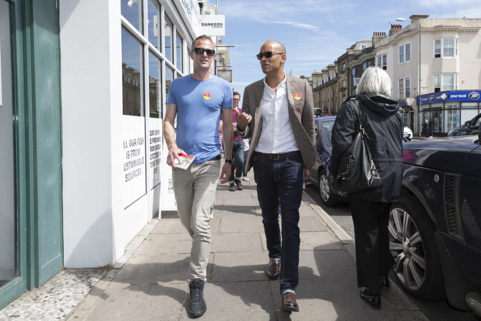 HOVE, BRIGHTON, ENGLAND - MAY 16:  Labour MP Chuka Umunna (R) talks with local candidate Peter Kyle (R) as he campaigns and door knocks in the constituency on May 16, 2017 in Hove, Brighton, England. Political parties and candidates continue to campaign across the United Kingdom following Prime Minister Theresa May's decision to call a snap election for June 8th. (Photo by Nicola Tree/Getty Images)