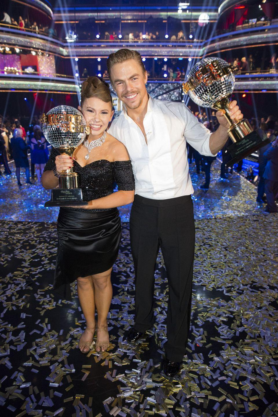 "<p>In addition to their salary and, of course, the title of <em>Dancing with the Stars </em>champion, the winning team <a href=""https://ftw.usatoday.com/2017/05/laurie-hernandez-keeps-the-mirror-ball-trophy-from-dwts-in-the-center-of-her-room"" rel=""nofollow noopener"" target=""_blank"" data-ylk=""slk:receives the Mirrorball Trophy"" class=""link rapid-noclick-resp"">receives the Mirrorball Trophy</a>, which they can take home and display wherever they like. </p>"
