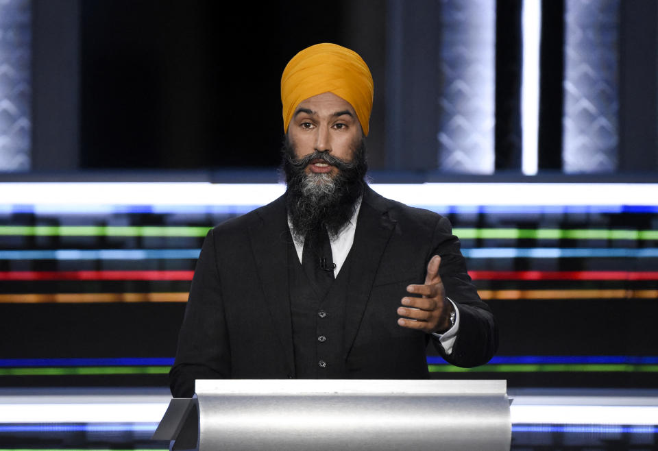 NDP Leader Jagmeet Singh speaks during the federal election English-language Leaders debate in Gatineau, Quebec, Canada on September 9, 2021. (Photo by Justin Tang / POOL / AFP) (Photo by JUSTIN TANG/POOL/AFP via Getty Images)
