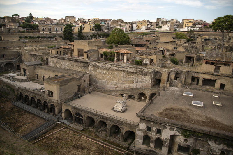 NAPLES, ITALY - JUNE 02: General view of the ancient Roman city of Herculaneum destroyed in 79 AD by the eruption of Vesuvius which also affected Pompeii, on the day of the reopening of the Archaeological Park on June 02, 2020 in Ercolano, Italy. Many Italian businesses have been allowed to reopen, after more than two months of a nationwide lockdown meant to curb the spread of Covid-19. (Photo by Ivan Romano/Getty Images)