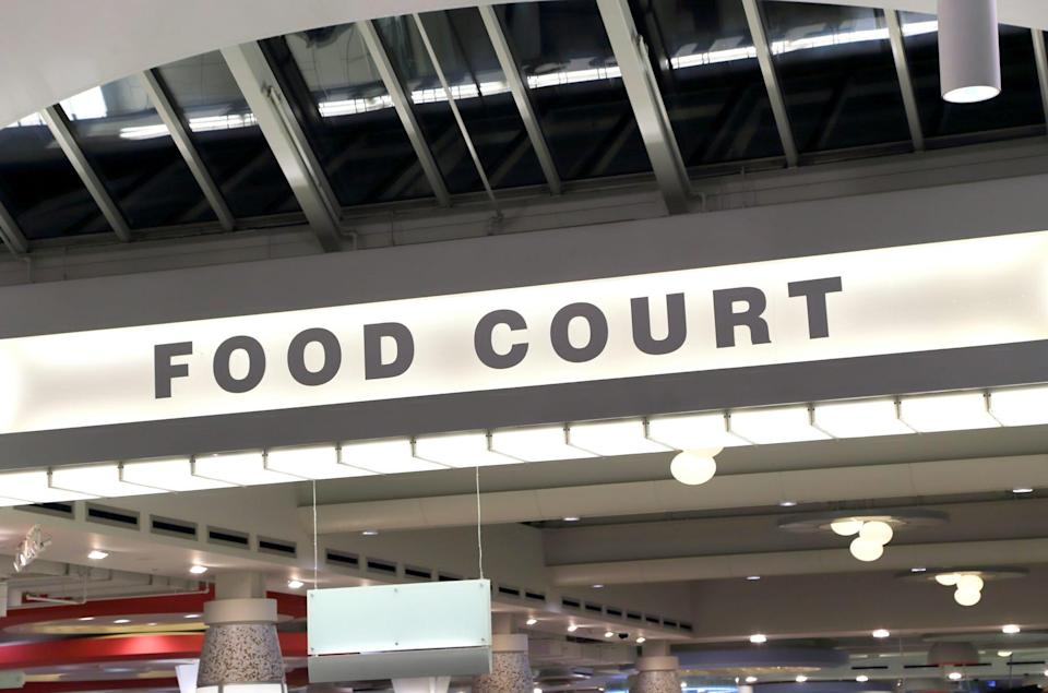 An image of a food court sign.
