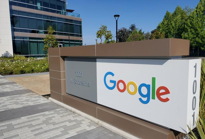A sign is pictured outs a Google offcie near the company's headquarters in Mountain View, California