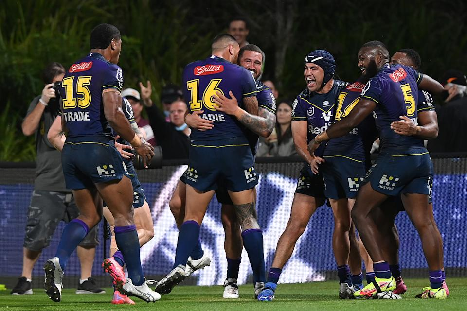 Seen here, Melbourne Storm players celebrate during their NRL finals win over Manly.