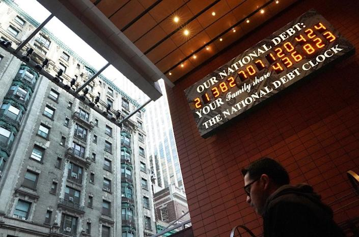The National Debt Clock shows the bad news about US federal borrowing, swelled in part by corporate tax cuts approved in late 2017 (AFP Photo/TIMOTHY A. CLARY)