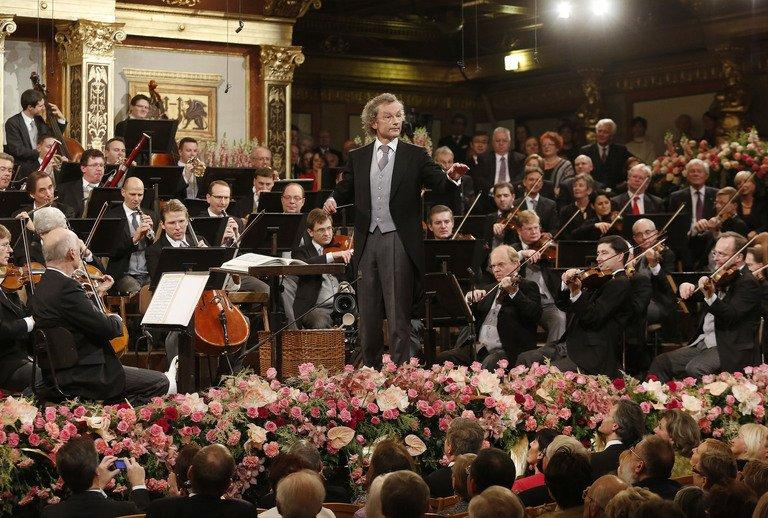 Austrian conducter Franz Welser-Moest and the Vienna Philharmonic Orchestra perform on January 1, 2013, Vienna, Austria