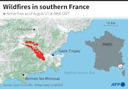 A map showing fires in southern France