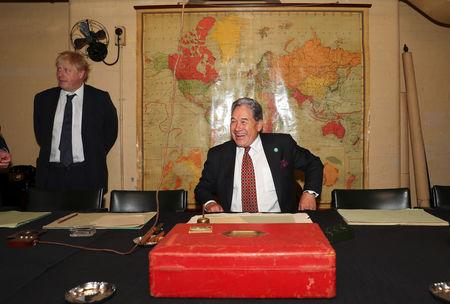FILE PHOTO:  Britain's Foreign Secretary Boris Johnson and New Zealand's Foreign Minister Winston Peters visit the Cabinet War rooms in central London