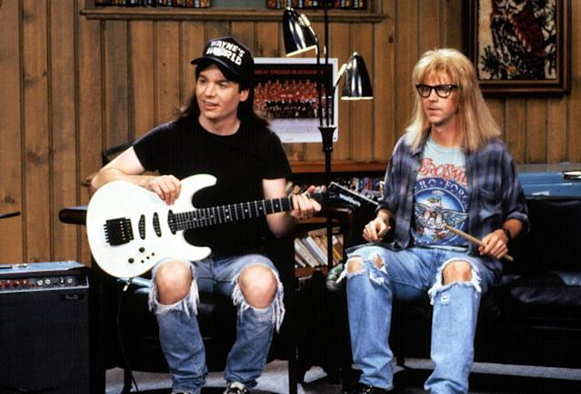 Dana Carvey, right, and Mike Myers in the 1992 film <em>Wayne's World.</em> (Photo: Paramount/Everett Collection)