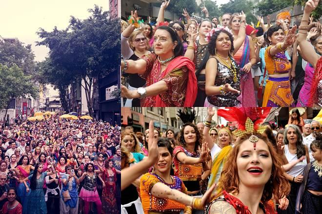 Bloco Bollywood is an annual street party that goes down Rua Augusta, playing Indian songs to which thousands dance as they follow the choreographies of Brazilian and Indian dance teachers.