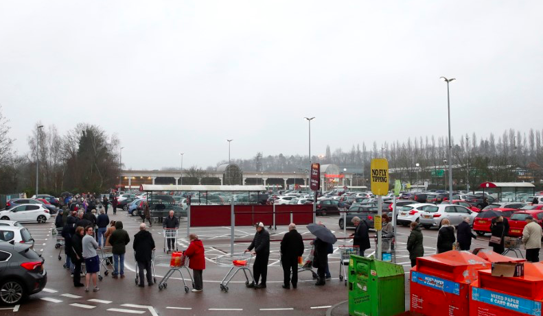 Sainsbury's in St Albans saw queues stretch outside the store. (Reuters)