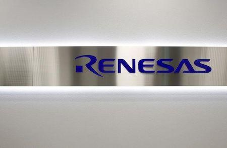 File photo of the logo of Renesas Electronics Corp at the company's headquarters in Tokyo