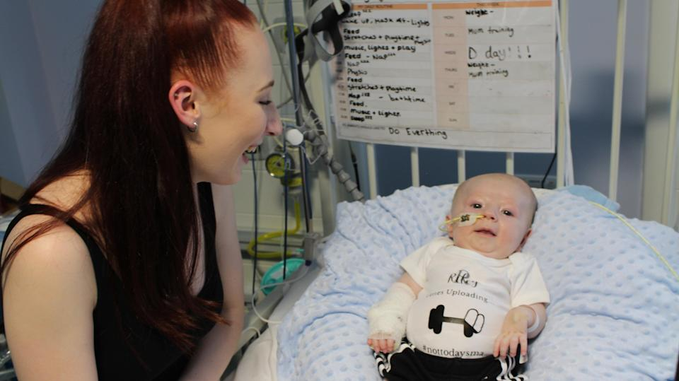 Jade Cadle-Billingham first noticed something wrong with her son Riley when he was three weeks old (University Hospitals Bristol and Weston NHS Foundation Trust/PA)